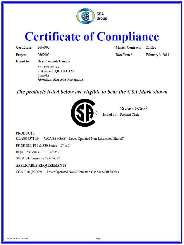 Bray Controls Certification CGA