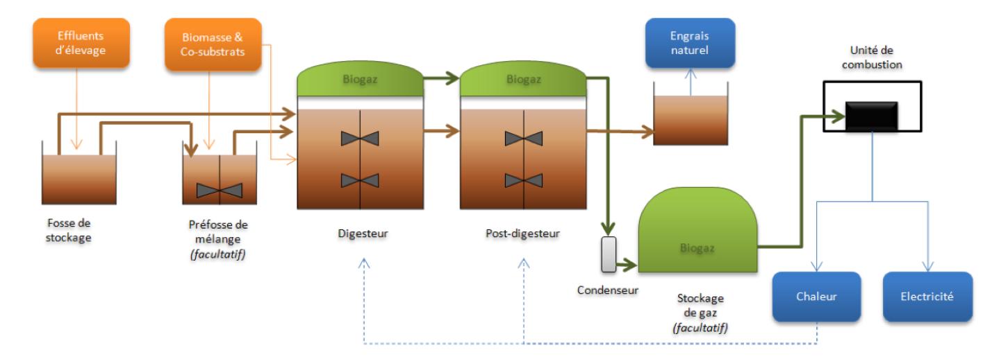 Schémas types d'une installation de biométhanisation