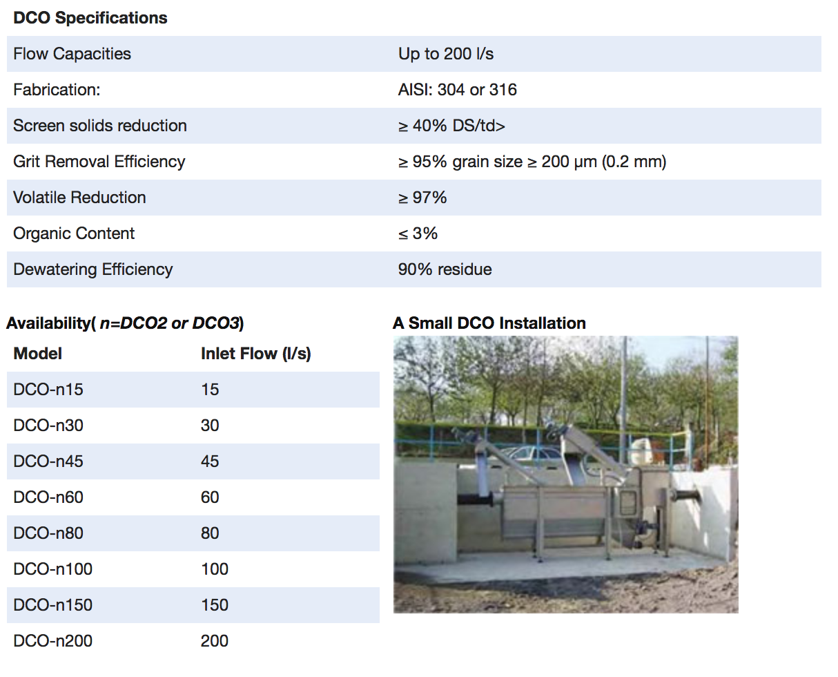 DRYCAKE - DCO combined treatment systems: Screening, Grit Separation and FOG Removal - Specifications