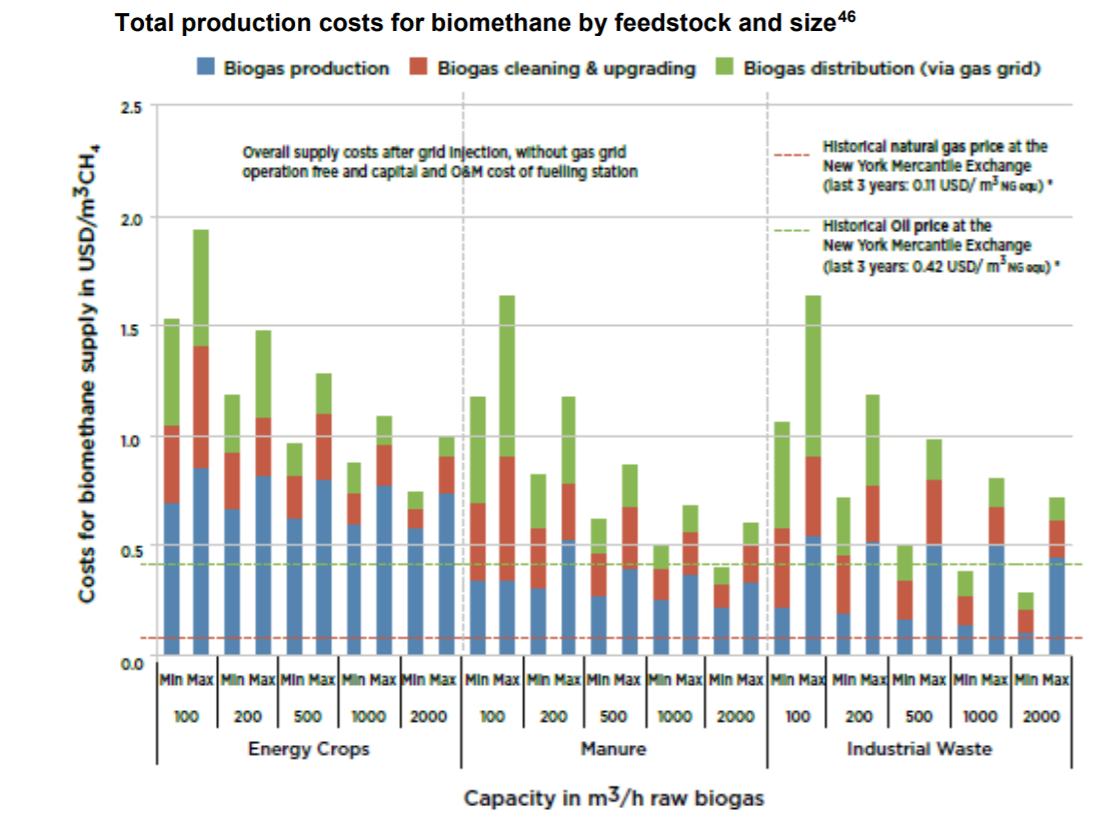 Cost of biogas plant - Graphic total production costs for biomethane by feedstock and size