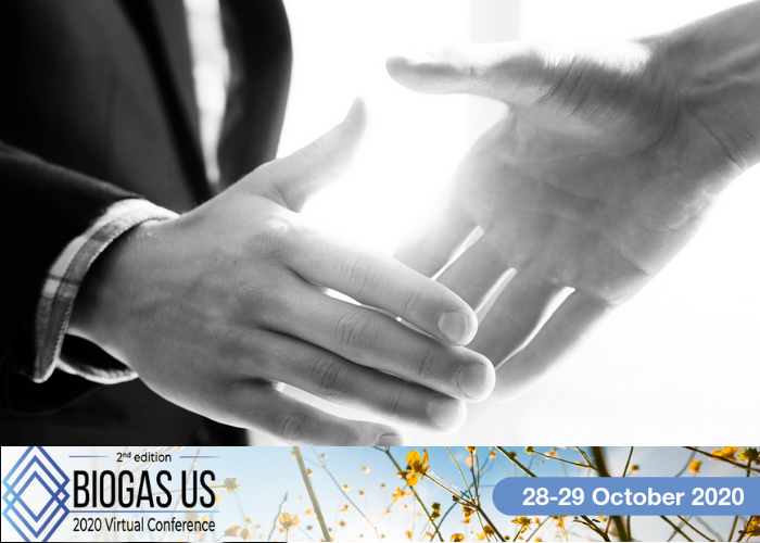 Banner for Virtual Biogas USA 2020 Conference and two persons shaking hands in black and white